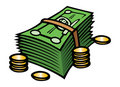 Cash & coins Royalty Free Stock Photo