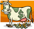 Cash cow saying cartoon illustration humor concept of Royalty Free Stock Images