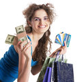 Cash or credit young woman holding and showing at card modern way of paying Royalty Free Stock Photos