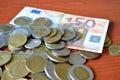 Cash and crisis economic deflation euro Royalty Free Stock Photography