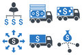 Cash Delivery Flat Glyph Icons Royalty Free Stock Photo