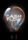 Cash flow concept illuminated light bulb Stock Image
