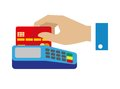 Cash free payment with bank credit card vector illustration