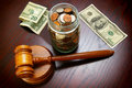 Cash and gavel Royalty Free Stock Photo