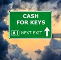 CASH FOR KEYS road sign against clear blue sky Royalty Free Stock Photo