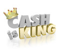 Cash is king shopping money vs credit buy power currency with gold crown on the word to illustrate the buying of or paper Stock Image