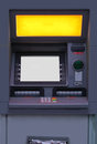Cash machine closeup of atm with keypad and display screen Royalty Free Stock Photography