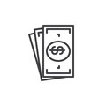 Cash money line icon, outline vector sign, linear style pictogram isolated on white. Royalty Free Stock Photo