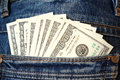 Cash, money is in the pocket of blue jeans Royalty Free Stock Photo