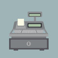 Cash register and bill on bule background Stock Photos