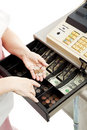 Cash Register Drawer Vertical Stock Image