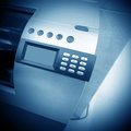 Cash registers shades of blue use register close up Royalty Free Stock Image