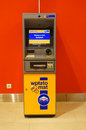 Cash transfer machine at a shopping mall in poznan poland Stock Photos