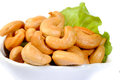 Cashew nuts isolated on white background Royalty Free Stock Photos