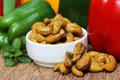 Cashew nuts with vegetables green mint leaves and capsicum Royalty Free Stock Images