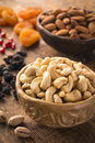 Cashews, pistachios, almonds, raisins, pomegranate seeds and dried apricots. Turkish dried fruits and nuts Royalty Free Stock Photo