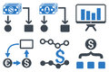 Cashflow Charts Flat Glyph Icons Royalty Free Stock Photo