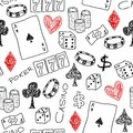 Casino background doodle seamless texture illustration concepts with poker dice and gambling Royalty Free Stock Image