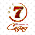 Casino background with lucky seven symbol and stars Royalty Free Stock Photo