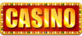 Casino banner gold and red shine with lamps Stock Image