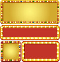 Casino banners gold and red shine with lamps Stock Images