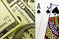 Casino Blackjack Poker Cards and Money Royalty Free Stock Photo