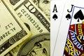 Casino Blackjack Poker Cards and Money Royalty Free Stock Photo