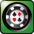 Casino chip green web button Royalty Free Stock Photo