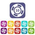 Casino chip icons set