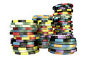 Casino Chip Stacks Front Stock Images