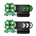 Casino chips on black checkered arrow banners Royalty Free Stock Images