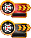 Casino chips on checkered gold arrow banners Stock Images