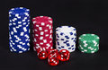 Casino chips and dices Royalty Free Stock Photo