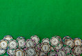 Casino chips on green background image Royalty Free Stock Photo