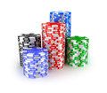Casino chips in piles Stock Photography