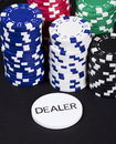 Casino dealer chips stack Royalty Free Stock Photo