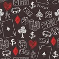 Casino doodle seamless background texture illustration concepts with poker dice and gambling Royalty Free Stock Image