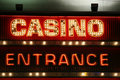 Casino entrance neon lights Royalty Free Stock Photo