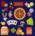 Casino gambler game vector icons poker symbols and casino blackjack cards gambler money winning icons with roulette Royalty Free Stock Photo