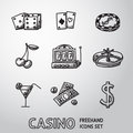 Casino, gambling freehand icons set. vector