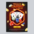 Casino Gambling Game Poster Card Template. Vector Royalty Free Stock Photo