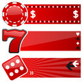 Casino gambling horizontal banners a collection of three and with a poker chip a fruit machine symbol and a dice icon on red Stock Photography
