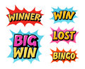 Casino or game icons. Lettering such as win, winner, lost, bingo. Comic text vector illustration