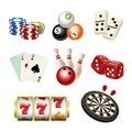 Casino game icons. Playing cards bowling domino darts dice vector realistic illustrations of play tools Royalty Free Stock Photo
