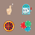 Casino game poker gambler symbols blackjack cards money winning roulette joker vector illustration. Royalty Free Stock Photo
