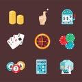 Casino game poker gambler symbols blackjack cards money winning roulette joker vector illustration. Royalty Free Stock Photo