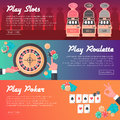 Casino Horizontal Banner Set (Slot Machine, Poker and Roulette). Flat Style. Clean Design.