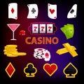 Casino icons set, cartoon style Royalty Free Stock Photo