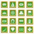 Casino icons set green