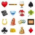 Casino icons set symbols, cartoon style